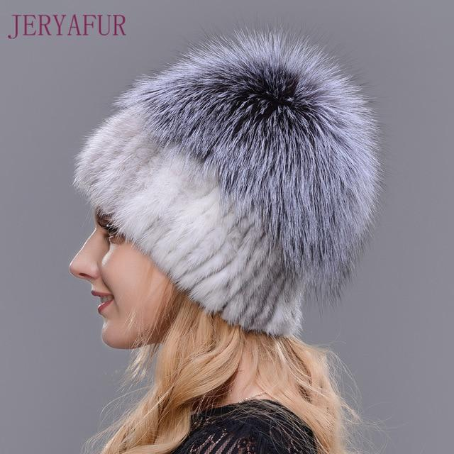 Knitted Mink with Fox Fur Top Cap - 005