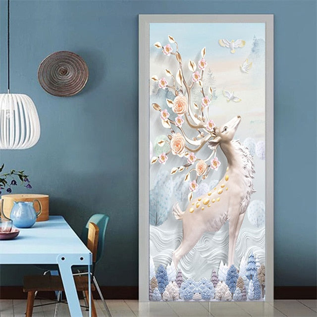 Flowers Tree Door Decor Sticker  Waterproof - Toyzor.com
