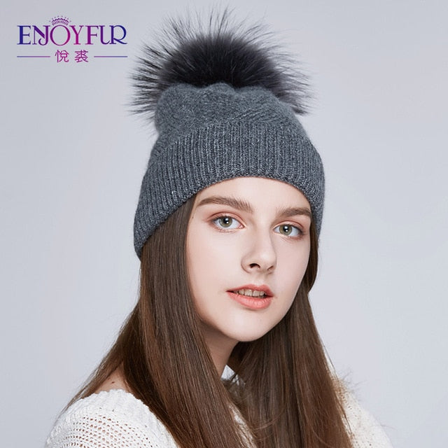 Natural Fur Pompom Winter Hats For Women