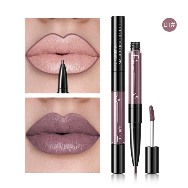 2 In1 Matte Lip Gloss Lip Liner Lip Tint Plumper Tattoo Makeup Liquid Lipstick
