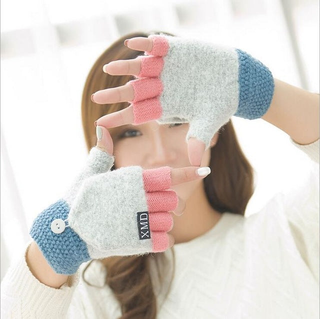 Acrylic Knitted Half Finger Clam Shell Gloves - Toyzor.com