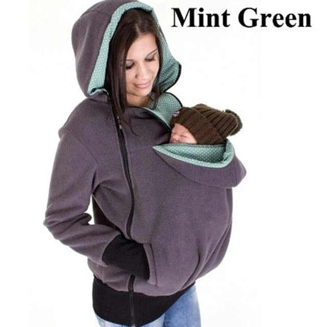 Winter Maternity Hoodie Jacket Kangaroo Outerwear Coat For Pregnant Women Carrying Baby