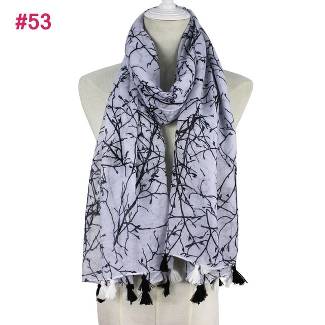 Ethnic Style Voile Cotton Women's Thin Long Shawl Scarf