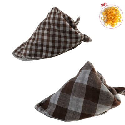 Reversible Cotton Linen Plaid  Scarf  Bow Ties