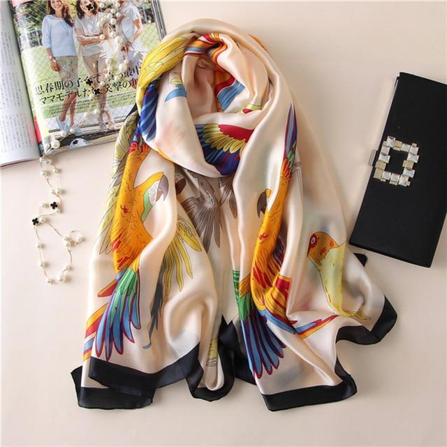 Luxurious Women's Floral Silk Scarf14
