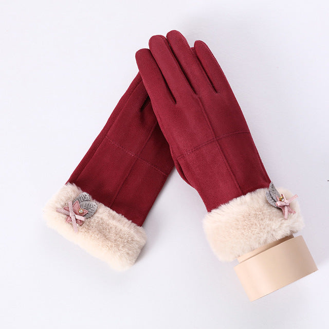 Winter Suede Leather Touch Screen Driving Gloves