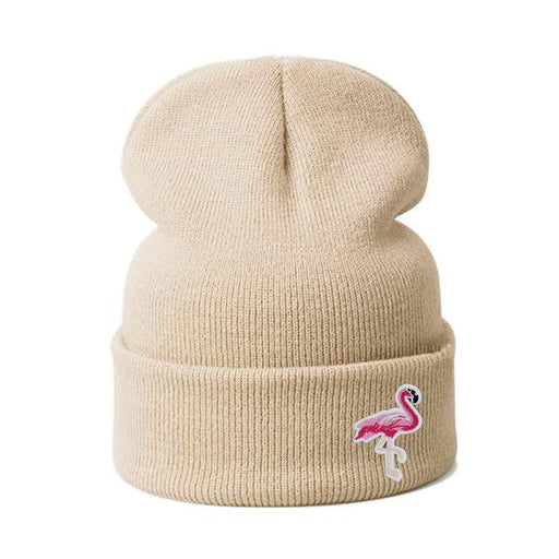 Knitted Skullies Beanies Flamingo Winter Hat - Beige