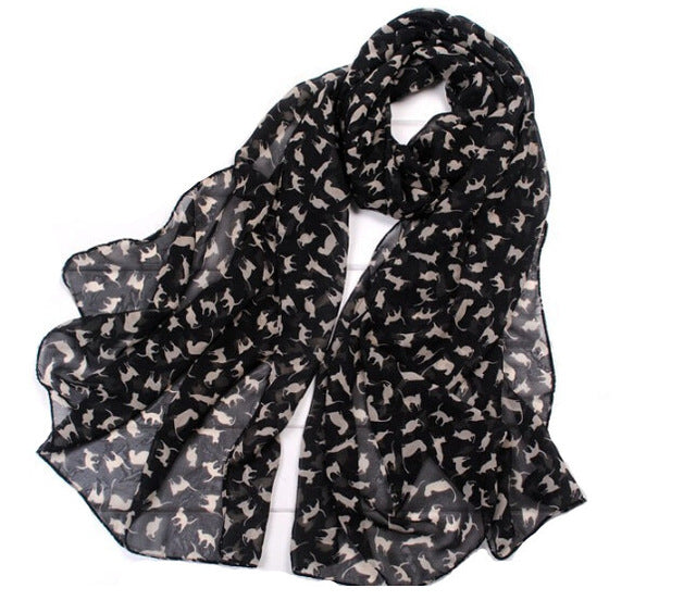Women's Chiffon Colorful Sweet Cartoon Kitten Scarf - Toyzor.com