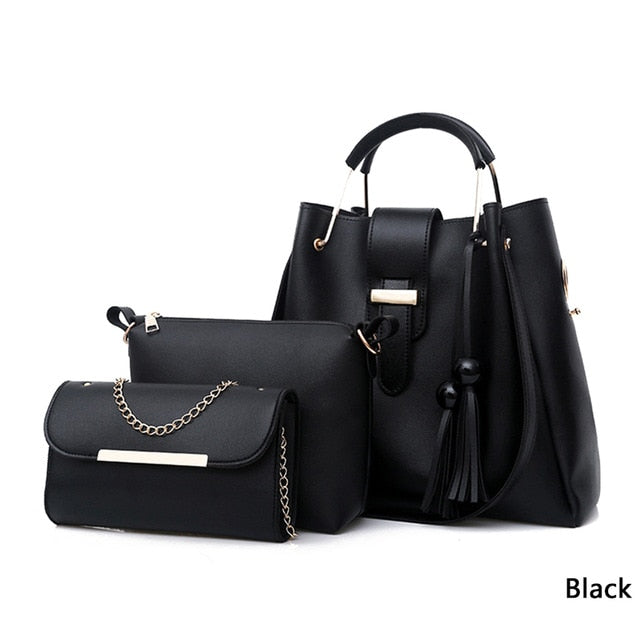 3 Pieces Leather Large Capacity Casual Tote Tassel Bucket Purses & Handbags