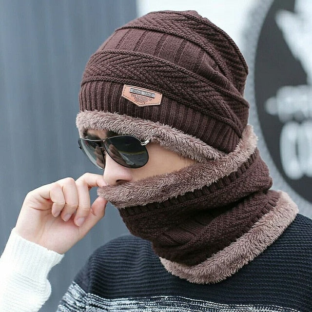 2 Pieces Ski Cap and Scarf Warm Leather Knitted Bonnet