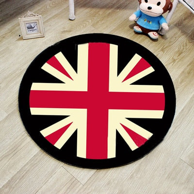 3D Round Floor Mat Carpet Living Room Anti-slip Mats