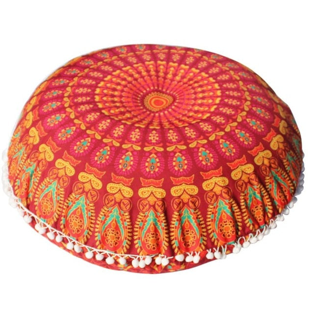 Round Mandala Floor Pillow Case Cover Bohemian Cushion
