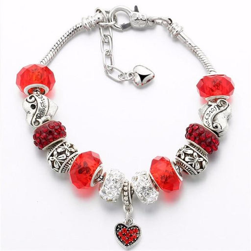 Vintage DIY Crystal Glass Beads Charms - BJDY087red