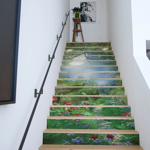 3D Tropical Palm Leaves DIY Stair Stickers for Living Room Self Adhesive Mural Art Decal
