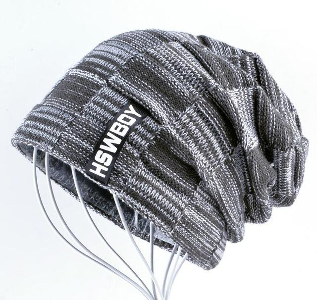 Knitted Plaid Autumn And Winter Bonnets For Men and Women - Gray2