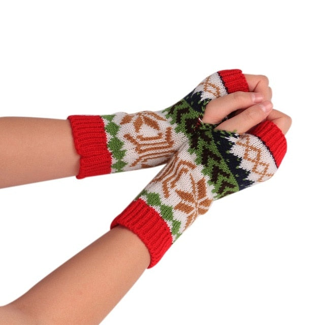 Winter Snowflake Christmas Knitted Gloves