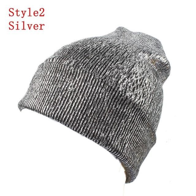 Knitted Shiny Pompom Hat - Khaki
