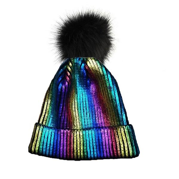 Knitted Shiny Pompom Hat - Multi