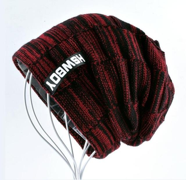 Knitted Plaid Autumn And Winter Bonnets For Men and Women - Red