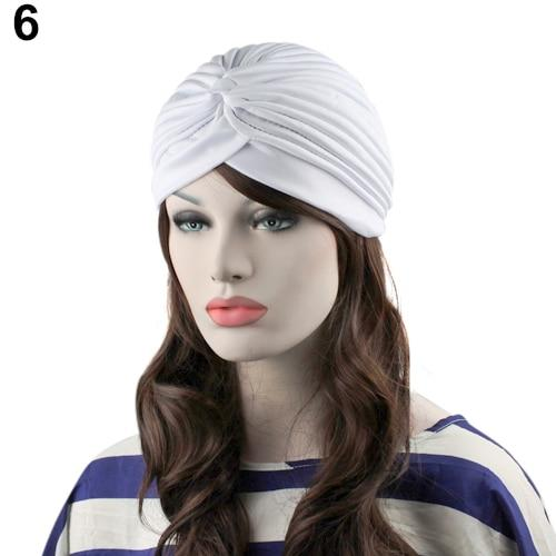 Indian Style Stretchable Pleated Turban - White
