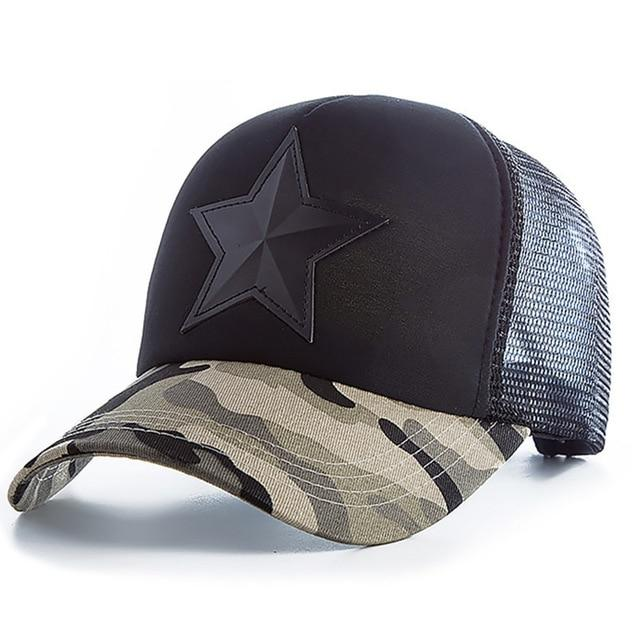 3D Five-pointed Star Embroidery Mesh Baseball Cap - Light Camo Black / 55cm to 60cm
