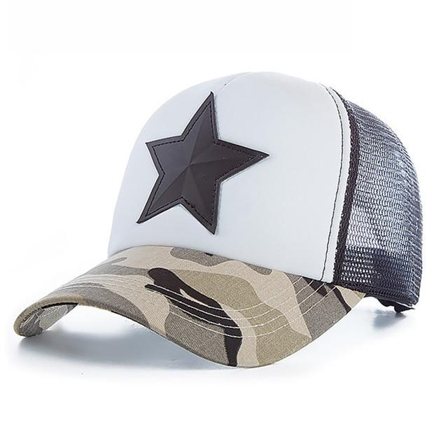 3D Five-pointed Star Embroidery Mesh Baseball Cap - Light Camo White / 55cm to 60cm
