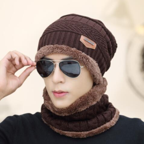 Knitted Hat Scarf + Neck Warmer Fleece - dark brown