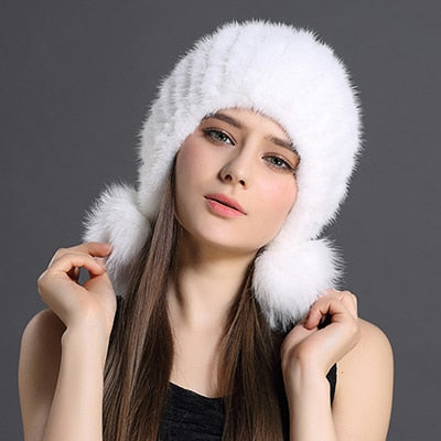 Real Knitted Mink Fur Hat