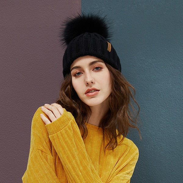 Real Raccoon Fur Pom Poms Beanies Winter Hat