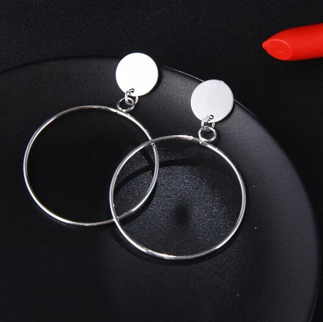 Big Round Hollow  Drop Earrings - Toyzor.com