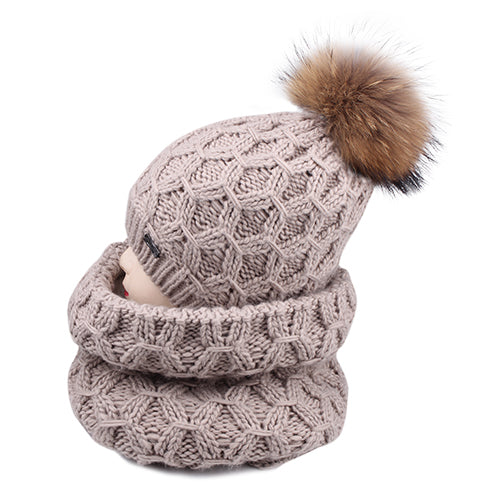 Winter Wool Hat for Kids with Neck Sarf