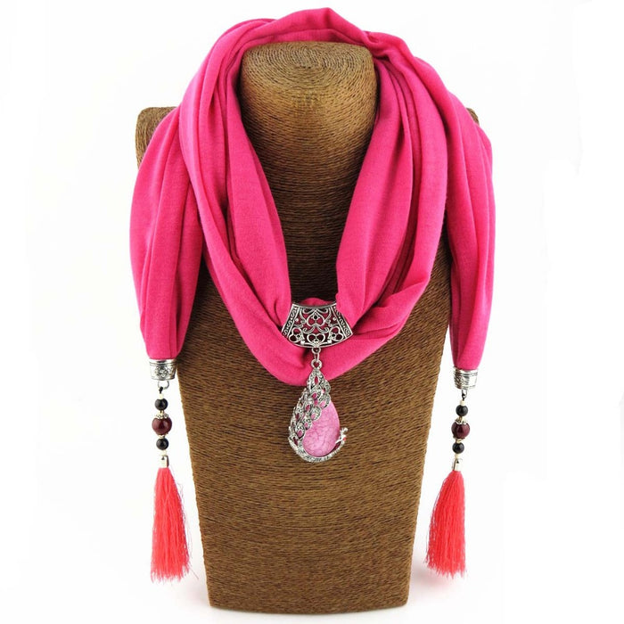 Stone Pendant Scarf Necklace