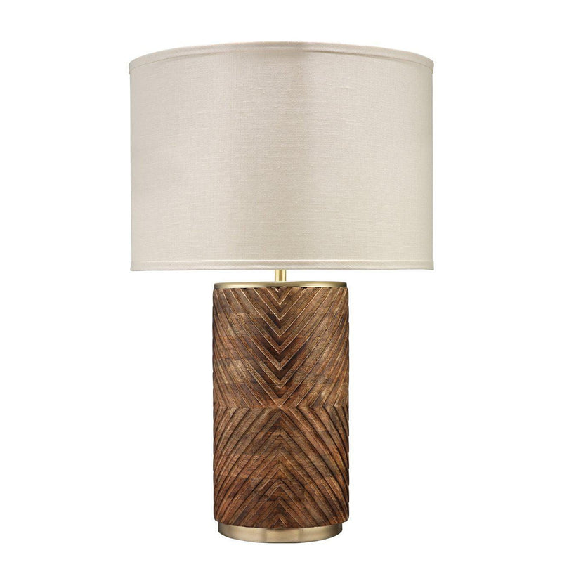 Refinery Table Lamp In Hand Carved Wood Matte Brass Metal With Classic Drum Shade In Stone Linen