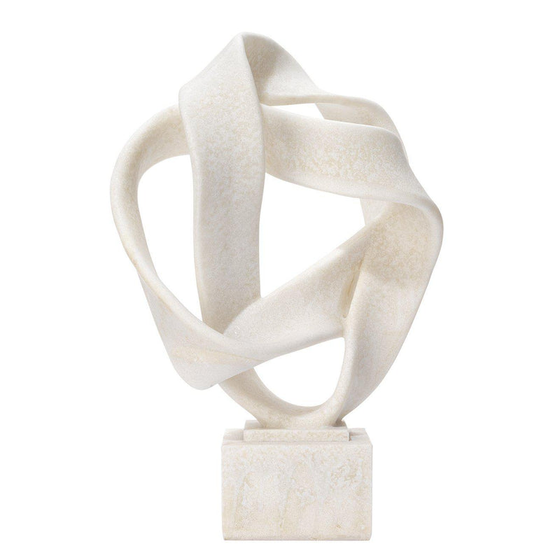 Intertwined Object On Stand In Off White Resin