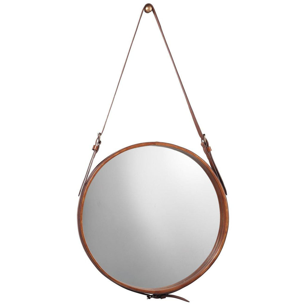 Brown Leather Round Mirror
