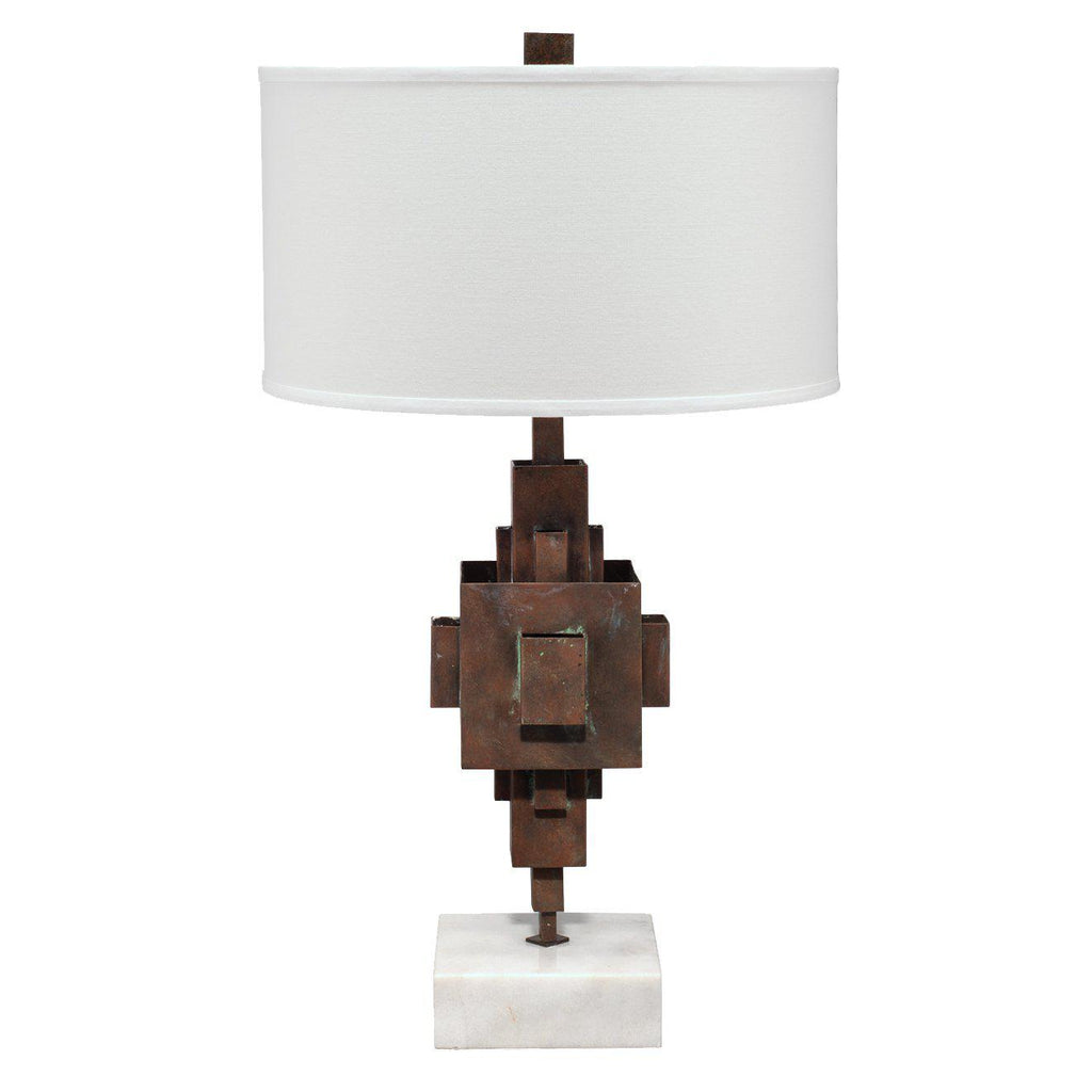 Apprentice Table Lamp in Rust Patina Metal on Marble with Drum Shade in Off White Linen