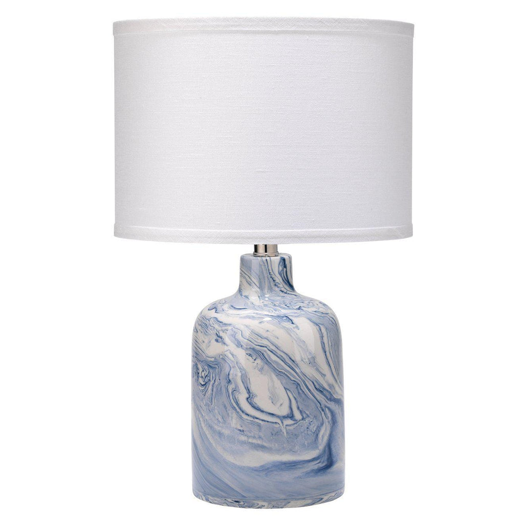 Atmosphere Table Lamp in Blue & White Ceramic Swirl with Small Drum Shade in White Linen