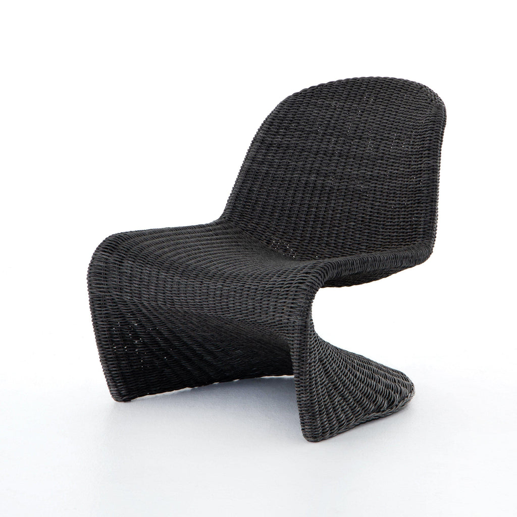 S shaped charcoal colored wicker indoor or outdoor chair