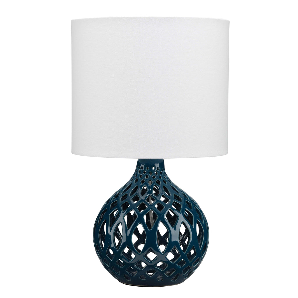 Fretwork Table Lamp in Navy Blue Ceramic with Drum Shade in White Linen