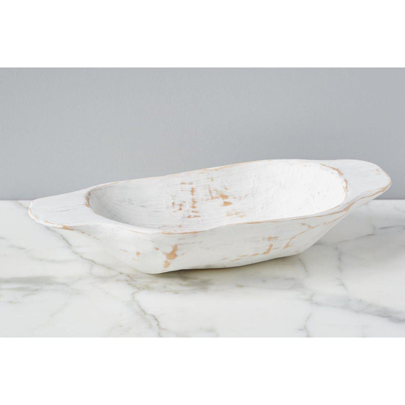 Distressed White Dough Bowl Small