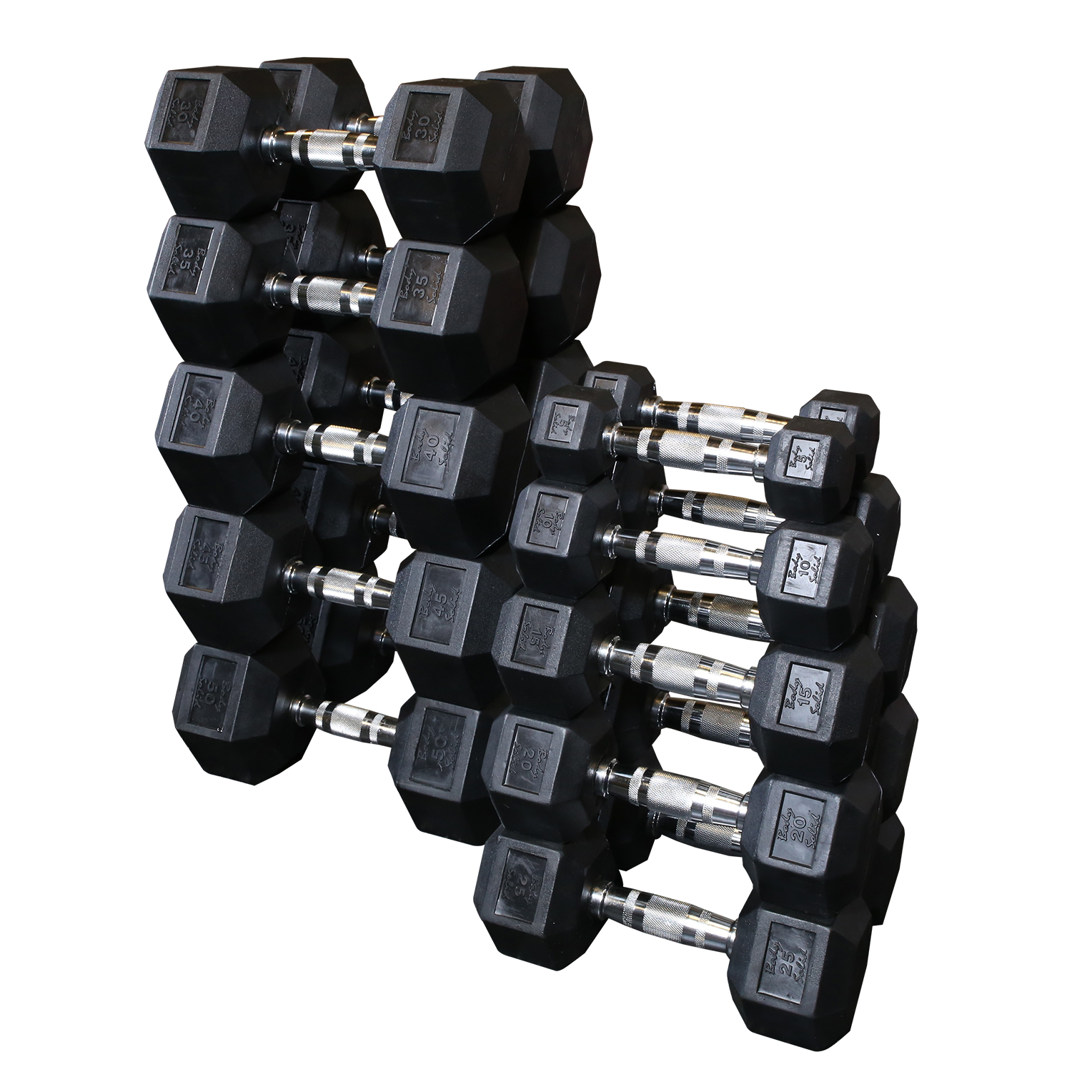 Body-Solid Rubber Hex Dumbbell Sets (Without Rack)