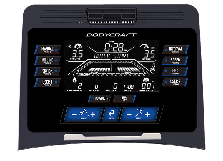 "Bodycraft T800 Treadmill with 9"" LCD Screen"