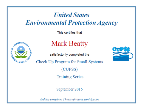 CUPSS Trainer Certificate - Mark Beatty - Ohio and Michigan