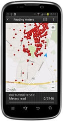 READy water meters mapped to Google maps on mobile phone or tablet