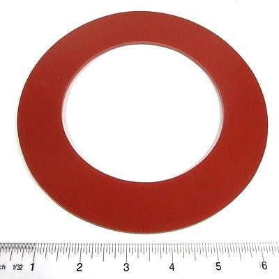 "4"" X 1/8"" Red Rubber Water Meter/Fitting Flange RING Gaskets, 1 Pair"