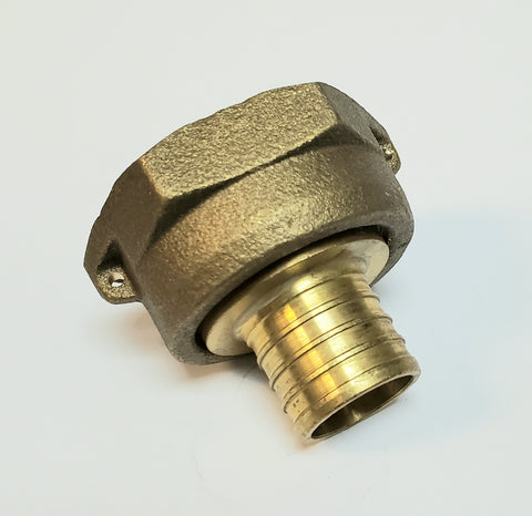 "1"" Water Meter Coupling, LEAD FREE Brass, Swivel Nut x 1"" PEX  Tubing Barb"