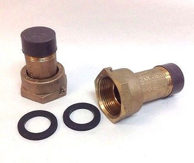 "PAIR 1"" Water Meter Coupling, LEAD-FREE brass, 1"" Female Swivel meter nut x 1"" NPT Male"