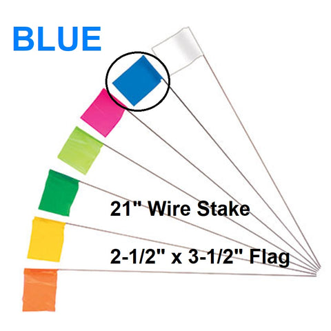 "100 Wire Marking Flags, 4"" x 4.5"" BLUE polyethylene 3 mil flag, 29.5"" long wire"