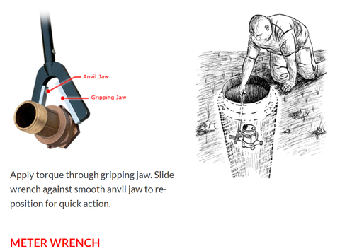 One Hand Meter Wrench for meters in meter pits