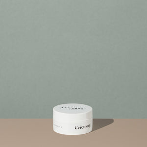 Ceremony paradise pliable hair moulding cream in a white round plastic container with minimalist black labeling